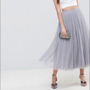 ASOS Tulle Midi Prom Skirt in soft gray